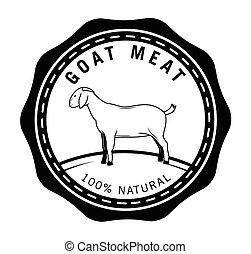 emblema, cabra, carne