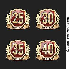 emblema, dourado, aniversário, 25th, vermelho