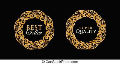 emblema, logotipo, ouro, redondo, quadro, vetorial, ornamento