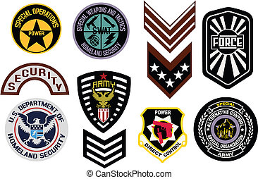 emblema, militar, emblema, escudo, logotipo