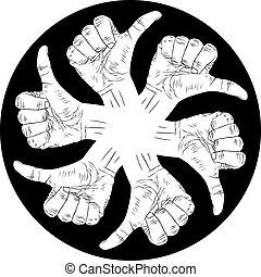 emblema, polegar, abstratos, seis, cima, mão, vetorial, pretas, especiais, human, sinais, branca, símbolo, redondo, hands.
