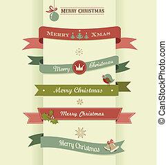 emblemas, jogo, fitas, elementos, natal