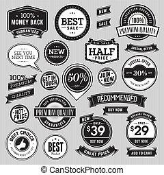 emblemas, jogo, fitas, venda