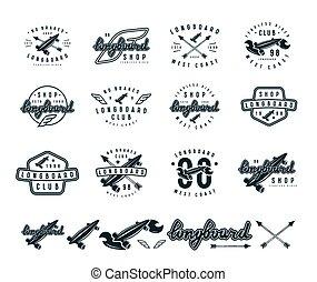 emblemas, jogo, longboard