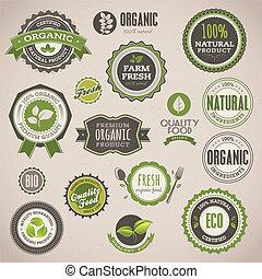 emblemas, jogo, orgânica, etiquetas