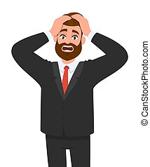 emoções, tensão, corporal, desenho, expressões, cabeça, jovem, vetorial, segurando, style., conceito, homem negócios, língua, tensão, caricatura, personagem, illustration., macho, chocado, hands., facial, enxaqueca
