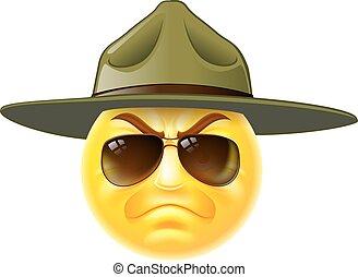 emoji, sargento, broca, emoticon