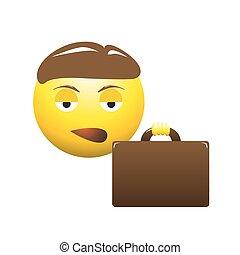 emoticon, aborrecido, homem negócio