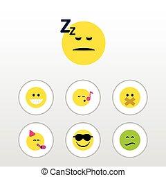 emoticon, apartamento, jogo, emoji, silencioso, elements., descant, inclui, também, outro, vetorial, silêncio, tempo, partido, objects., expressão, adormecido, ícone
