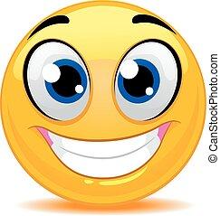 emoticon, feliz, smiley enfrentam