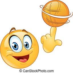 emoticon, girar, bola
