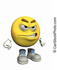 emoticon, guy., zangado