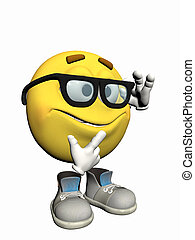 emoticon, nerd., sujeito