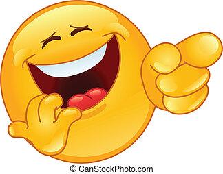 emoticon, rir, apontar