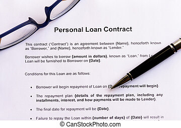 empréstimo, pessoal, contrato