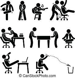 empregado, divertimento, trabalhador, escritório