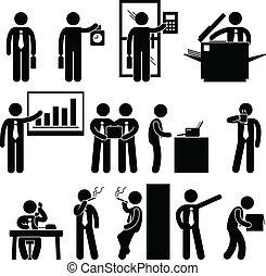 empregado, homem negócios, trabalho, negócio