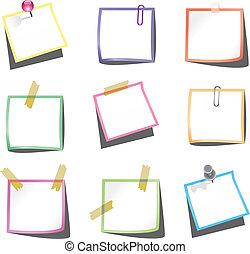 empurrão, notas, papel, paperclip, alfinete