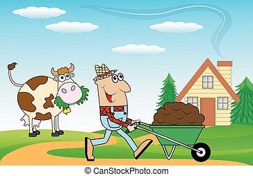 empurrar, agricultor, macho, carreta