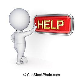 empurrar, pessoa, help., 3d, botão, pequeno