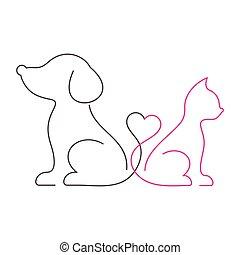 encantador, magra, gato, linha, cão, ícones