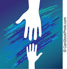 encouragement., apoio, pai, mão, criança, moral.