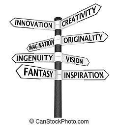 encruzilhadas, criatividade, sinal