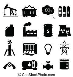 energia, óleo, jogo, ícone