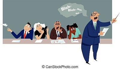 enfadonho, reunião, negócio