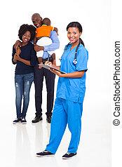 enfermeira, americano, femininas, família, africano