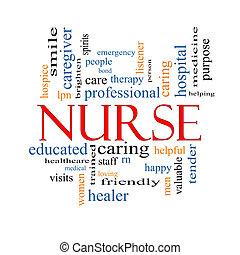 enfermeira, conceito, palavra, nuvem