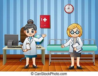 enfermeira, hospitalar, caricatura, doutor