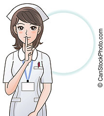enfermeira, pedir, jovem, silêncio