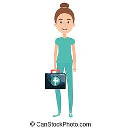 enfermeira, personagem, equipamento médico
