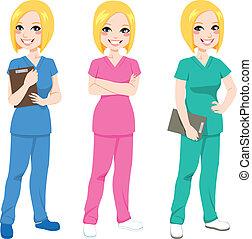 enfermeira, posar, feliz