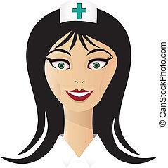 enfermeira, vetorial, bonito, rosto