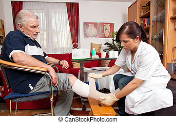 enfermeiras, ferida, cuidado