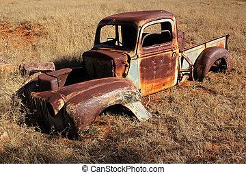 enferrujado, caminhão, antigas, pickup