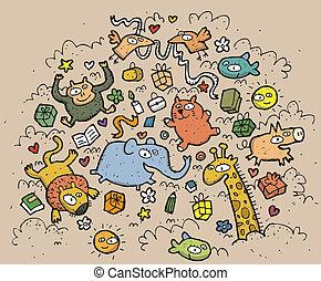 engraçado, animais, illustration., desenhado, objects:, mão, vetorial, ilustração, mode!, eps10, composição