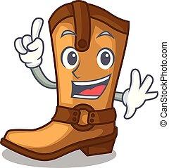 engraçado, boiadeiro, couro, botas, forma, dedo, caricatura