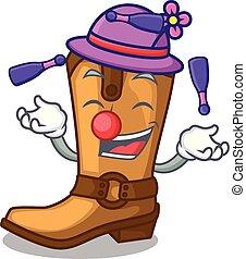 engraçado, boiadeiro, couro, botas, forma, juggling, caricatura