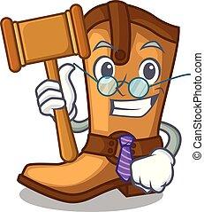 engraçado, boiadeiro, couro, botas, forma, juiz, caricatura