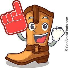 engraçado, boiadeiro, couro, espuma, botas, forma, dedo, caricatura