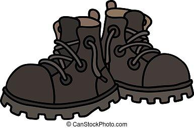 engraçado, botas, pretas