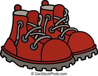 engraçado, botas vermelhas