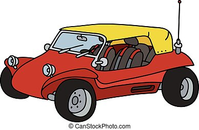 engraçado, buggy, vermelho, duna