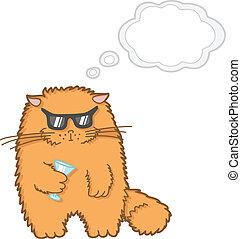 engraçado, caricatura, gato