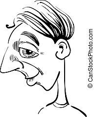 engraçado, caricatura, homem
