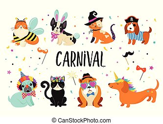 engraçado, carnaval, coloridos, cute, trajes, animais, ilustração, cachorros, vetorial, gatos, pets.
