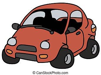 engraçado, carro vermelho